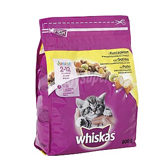 Whiskas Pienso para gatos junior (2-12 meses) a base de pollo y leche Paquete 800 g