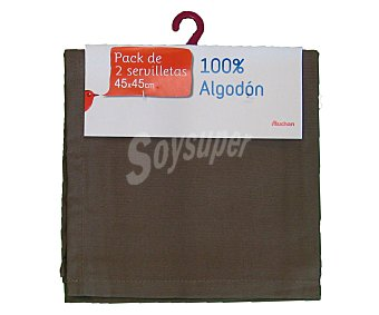 Auchan Pack de 2 servilletas lisas de algodón, color marrón pardo, 45x45 centímetros 1 Unidad