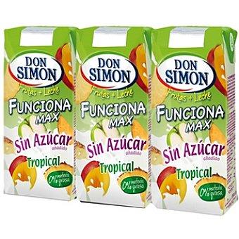 Don Simón Frutas + Leche Funciona Max Tropical sin azúcar Pack 3 envase 33 cl