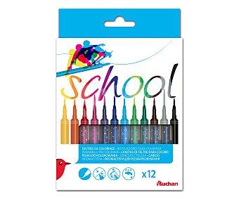 Auchan Rotuladores de colores con punta pincel, ultralavables 12 unidades