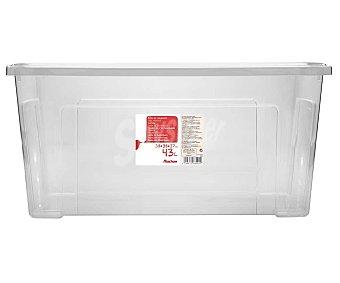 Auchan Caja de ordenación con tapa, , fabricada en plástico transpartente, 58,2x38x27,8cm. auchan 43 litros