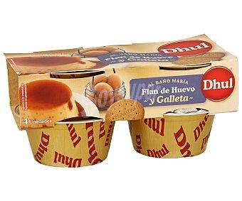 Dhul Flan de huevo y galleta pack de 4 unidades de 110 gramos