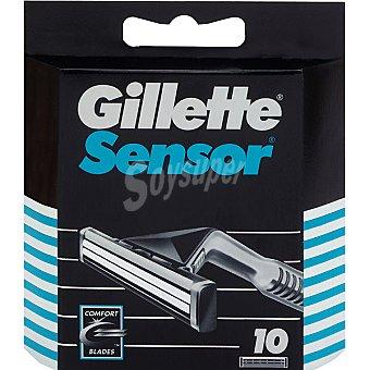 Gillette Sensor recambio de maquinilla de afeitar Estuche 10 unidades