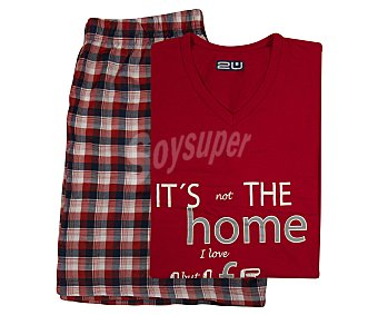 2U Pijama con camiseta de manga corta y pantalón corto color rojo, talla M