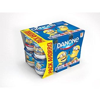 Danone Yogur fresa-macedonia-fresa-galleta  12 unidades de 125 g