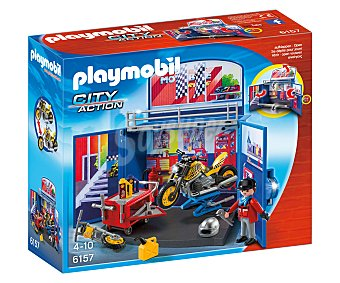 Playmobil Playset escenario de juego taller de motos en cofre, incluye figura y accesorios, modelo 6157 City Action 1 unidad