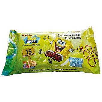Bob Esponja Toallitas húmedas refrescantes sin alcohol Paquete 15 unidades
