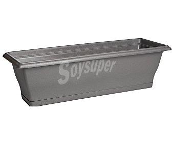 VAN Clipper Maceta balconera de plástico, rectangular, lisa, de color gris y con medidas de 60 x 20 x 19 centímetros Clipper