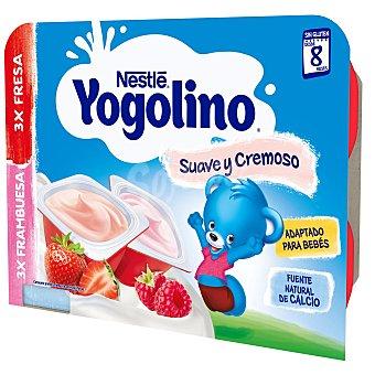 Yogolino Nestlé Postre lácteo con sabor a fresa y frambuesa para bebés a partir de 8 meses Pack 6 tarrinas x 60 g