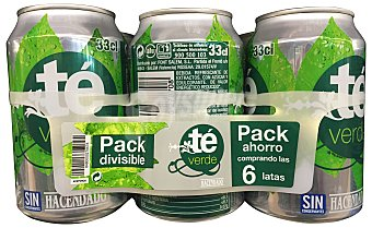 Hacendado Refresco té verde 6 unidades de 330 ml (1980 cc)
