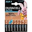 Ultra pila alcalina AAA 1.5V LR03/MX2400 Blister 8 unidades Duracell