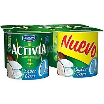 Activia Danone Yogur desnatado sabor coco 0% materia grasa Pack 4 unidades 125 g