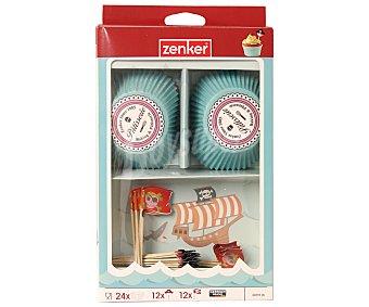 ZENKER Set de 48 piezas para decorar cupcake con diseños de pirata 1 Unidad