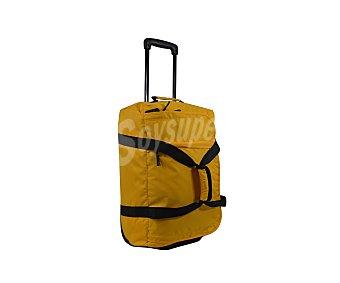 AIRPORT Bolsa de viaje multibolsillos con ruedas, de color amarillo con las cremalleras en negro y asa telescópica, medida 50 centímetros 50cm