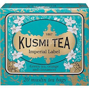 KUSMI TEA Té verde Imperial Label naranja canela regaliz y espino amarillo 20 bolsitas estuche 44 g estuche 44 g
