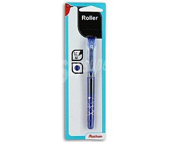 Auchan Bolígrafo del tipo roller, punta media con grosor de escritura de 0.7 milímetros y tinta líquida azul 1 unidad