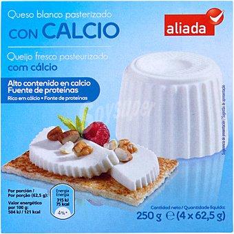 Aliada Queso fresco con calcio Pack 4 envases 62,50 g