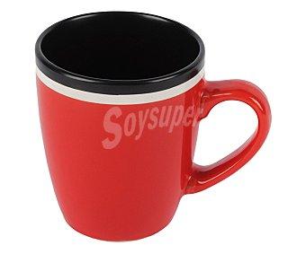 Taberseo Mug, taza alta con asa, fabricada en gres bicolor rojo y negro 1 unidad
