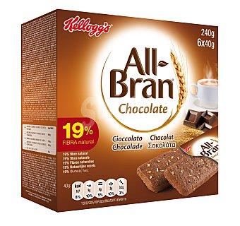 All bran Kellogg's Barritas de chocolate  Caja 6 x 40 g