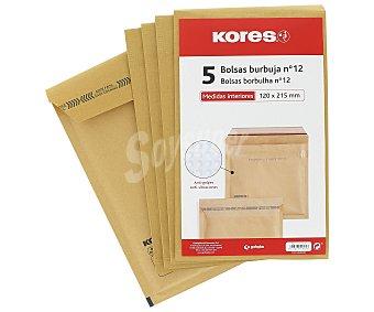 Kores 5 sobres de papel Kraft tamaño 120 x 215mm color marrón, con burbujas del número 12 kores