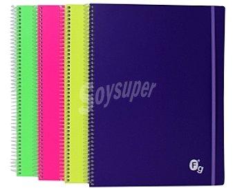 Productos Económicos Alcampo Cuaderno Tamaño Folio Colores Flúor Surtidos 100 Hojas y Cierre con Goma 1 Unidad