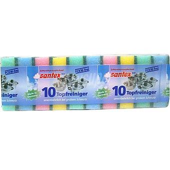 SANTEX Estropajo fibra con esponja de colores paquete 10 unidades Paquete 10 unidades