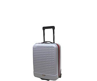 AIRPORT Maleta de viaje para cabina, 2 ruedas, material rígido abs, color y gris y franjas rojas, 52cm alcampo