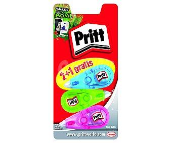 Pritt Lote de 3 cintas correctoras de 5 milímetros y 6 metros, con aplicadores de colores 1 unidad