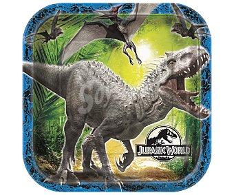 PARTYGRAM Plato llano cuadrado Jurassic World, 23x23 centímetros 8 unidades