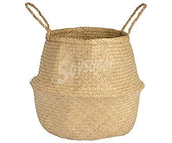 M-home Cesto pongotodo plegable y con asas, hierba marina con acabado natural, 45cm. de diámetro, 36cm. de alto, HOME.
