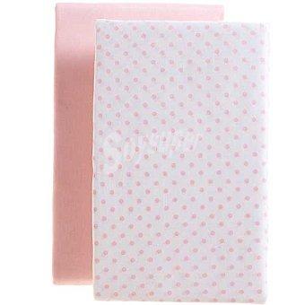 DOMBI Juego 2 sábanas bajeras ajustables para cuna una rosa y la con lunares 2 unidades