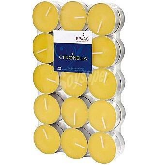 SPAAS Paquete de 30 velas calientaplatos citronella