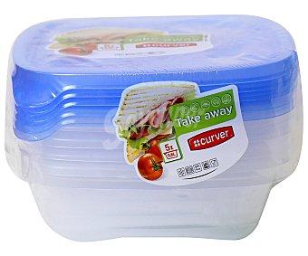 Curver 4 herméticos cuadrados de plástico, capacidad de , sandwich take away curver 0.6 litros