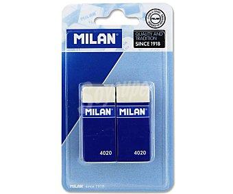 Milan Lote de 2 gomas de borrar del tipo miga de pan, rectangulares y de color blanco milán 4020