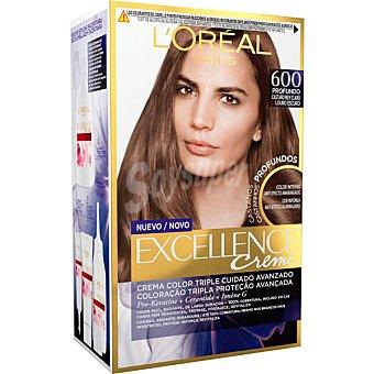 Excellence L'Oréal Paris Creme tinte moreno profundo nº 600 crema color triple cuidado avanzado caja 1 unidad con Pro-keratina + Ceramida + Ionene G caja 1 unidad