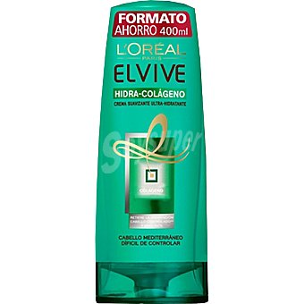 Elvive L'Oréal Paris crema suavizante hidra colágeno hidratante cabello mediterráneo difícil de controlar  frasco 400 ml