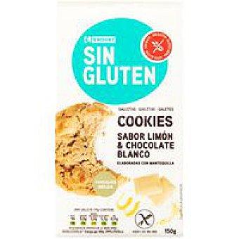 Eroski Cookies de choco blanco-limón sin gluten paquete 150 g