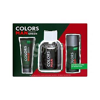 Benetton Lote hombre green eau toilette (100 ml) + desodorante (spray 150 ml) + gel ducha (75 ml) Pack 3 unidades