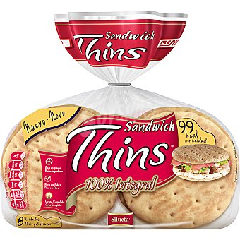 Sándwich Thins Bimbo Pan 100% integral bajo en grasa rico en fibras grano completo bolsa 310 g 8 unidades (310 gramos)