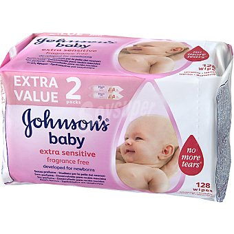 JOHNSONS BABY Toallitas infantiles extra sensitive Pack 2 envases 64 unidades