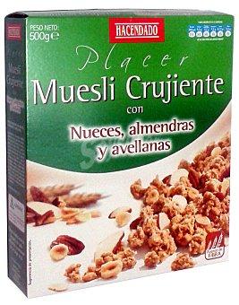 Hacendado Cereal muesli crujiente nueces, almendras y avellanas Caja 500 g