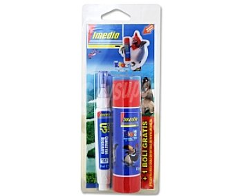 IMEDIO Pegamento en Barra 40 gramos+Bolígrafo Corrector de 7 milímetros 1 Unidad
