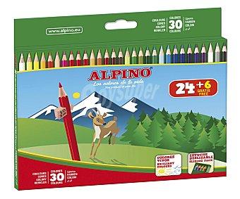 Alpino Estuche deslizante de 30 lápices de colorear de colores vivos 1 unidad