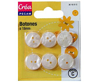 STYLE Pack de 6 botones abombados de 18 milímetros, color blanco 1 Unidad