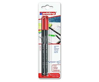 EDDING Marcadores permanentes rojo, para escritura en papeles claros, con punta de fibra de trazo de 1 milímetro 2 unidades