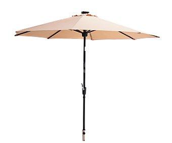 Plob Parasol inclinable de color marrón con estructura de aluminio de 8 varillas , cobertura de poliester, manivela para abrir y cerrar y 2.7 metros 1 unidad