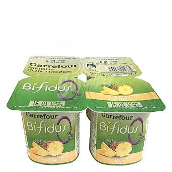 Carrefour Yogur bífidus desnatado con trozos de piña Pack de 4 unidades de 125 g
