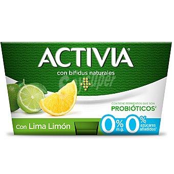 Activia Danone Yogur con bífidus naturales, 0% materia grasa, fermentos que son probióticos y lima-limón 4 x 125 g