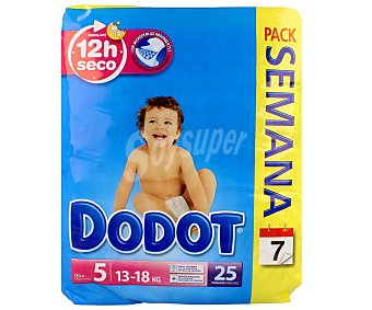 Dodot Pañales talla 5 para bebés de 13 a 18 kilogramos 25 unidades