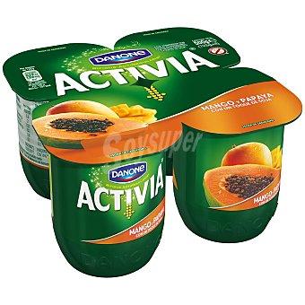 DANONE ACTIVIA Yogur de frutas exoticas con mango y papaya con un toque de soja 1%  pack 4 unidades 125 g